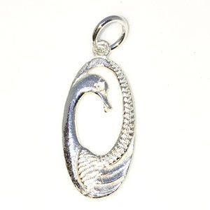 Solid Silver Medium Pendant with Oval Shape Swan